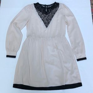 ASOS dress cream/blush pink with black trim lace size 8 lined